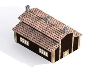 obj cartoon wooden barracks