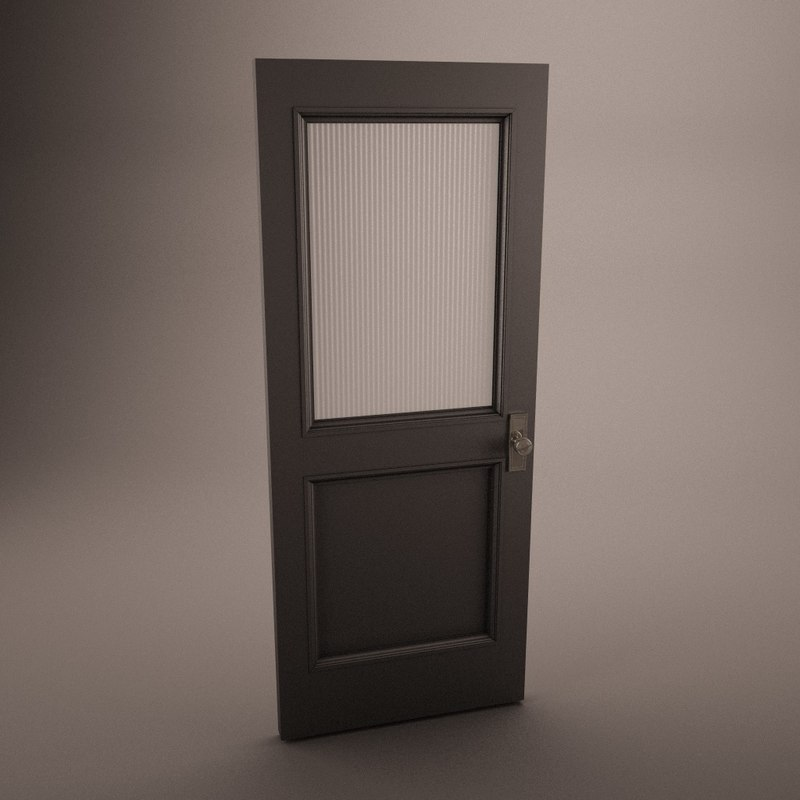 3d model wooden door frosted antique wood