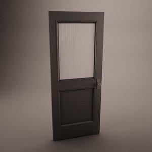 3d model wooden door frosted antique wood