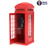 British Red Phone Booth with Telephone