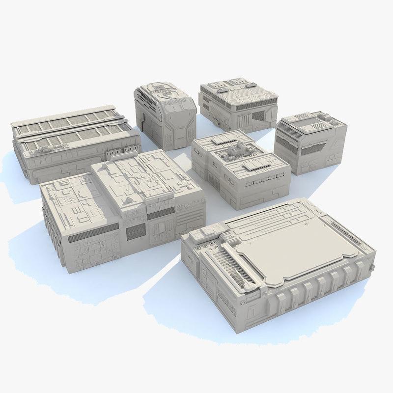 3d model sci fi buildings set