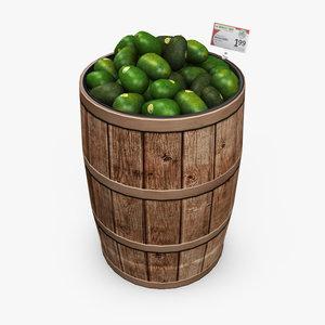3d model grocery barrel - avocados