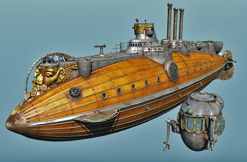 steampunk steam submarine 3d model