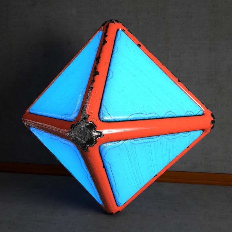 obj octahedron worn glowing