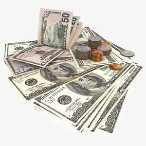 3d paper dollars coins