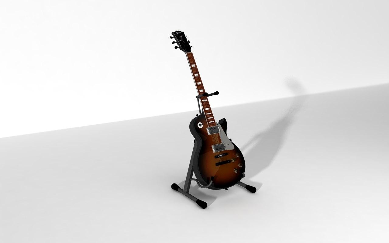 polly gibson guitar 3d c4d