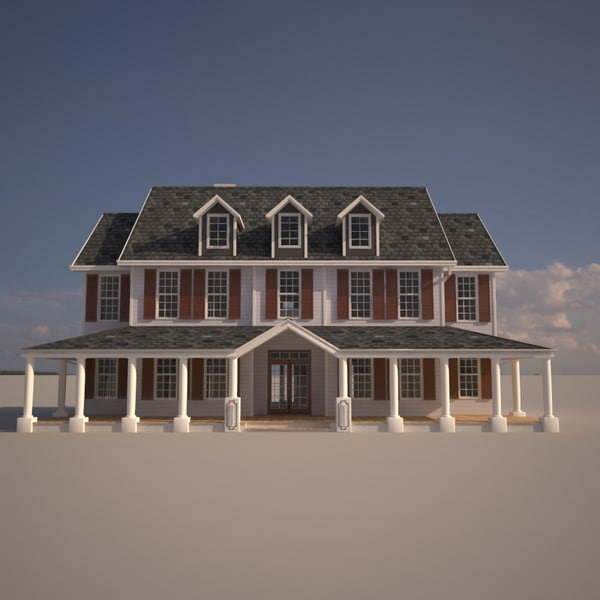 3d colonial style house model