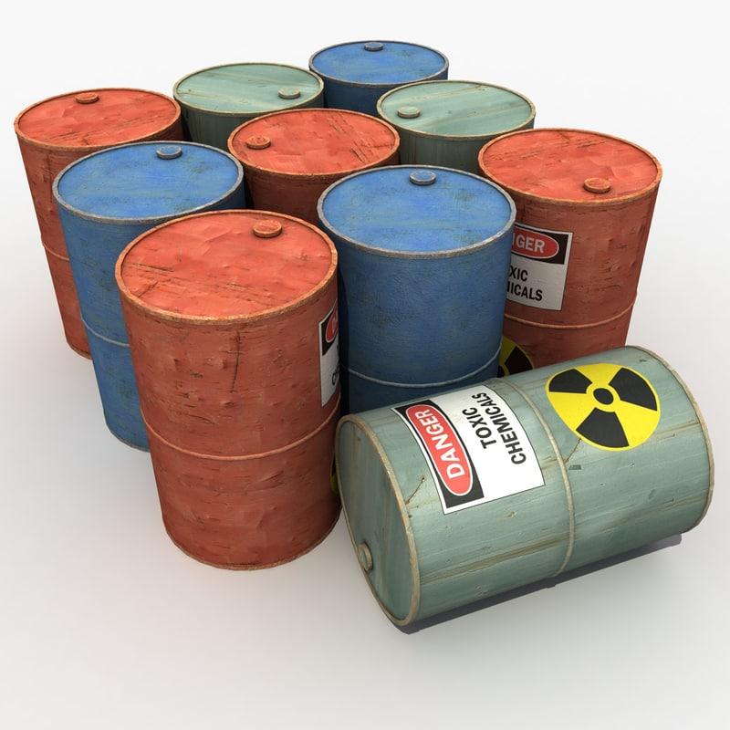 barrels modeled contains 3d model