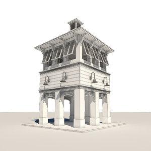 bahama clock tower 3d max