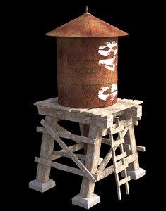 water tower 3d fbx