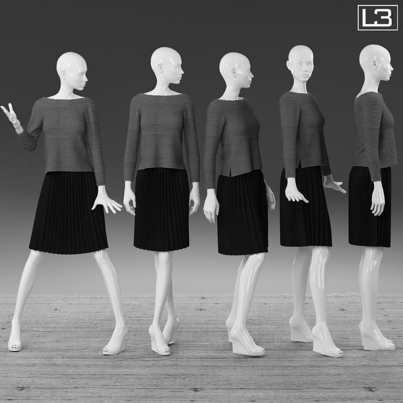 3d woman mannequin model