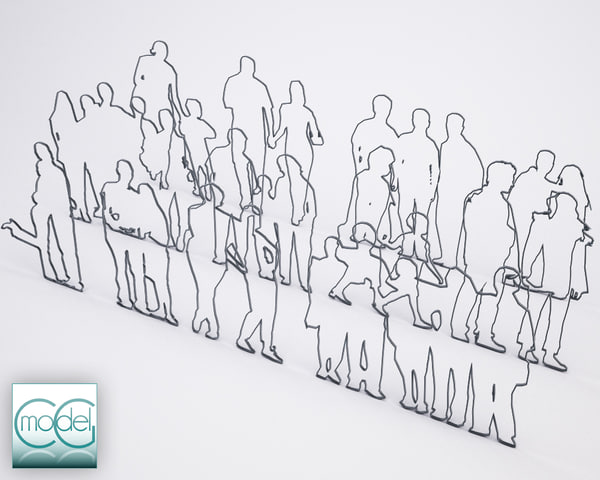 silhouette people 3d model