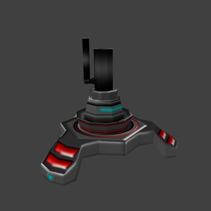 3d model sci-fi turret cannon