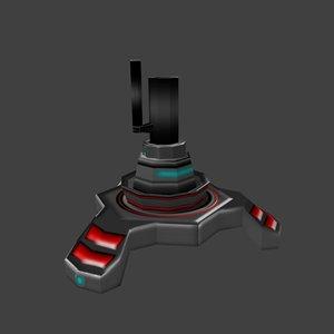 3d model sci-fi turret cannon