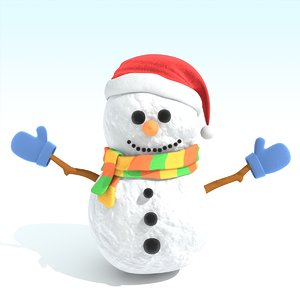snowman modeled 3d model