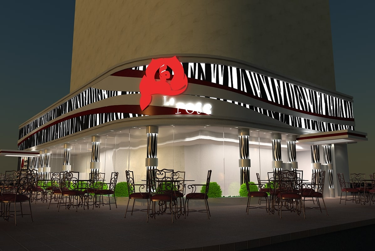 3ds max street coffee shop