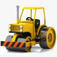 3d toon road roller