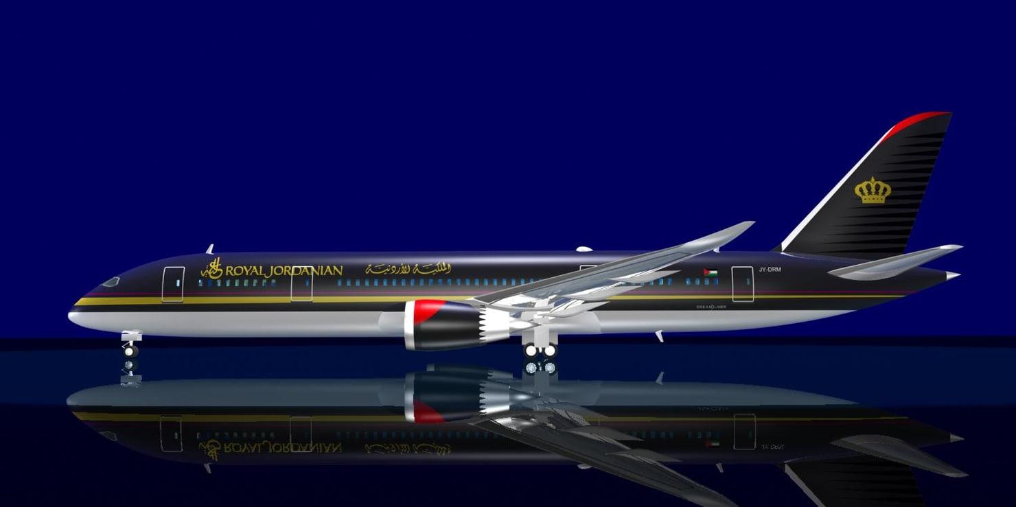 3d royal jordanian 787-8 dreamliner