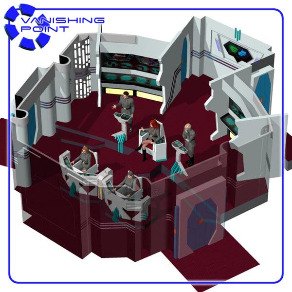 starship bridge 11 poser figure 3d model