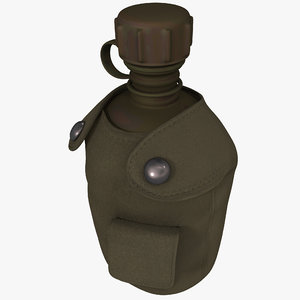 3d model military aluminum canteen