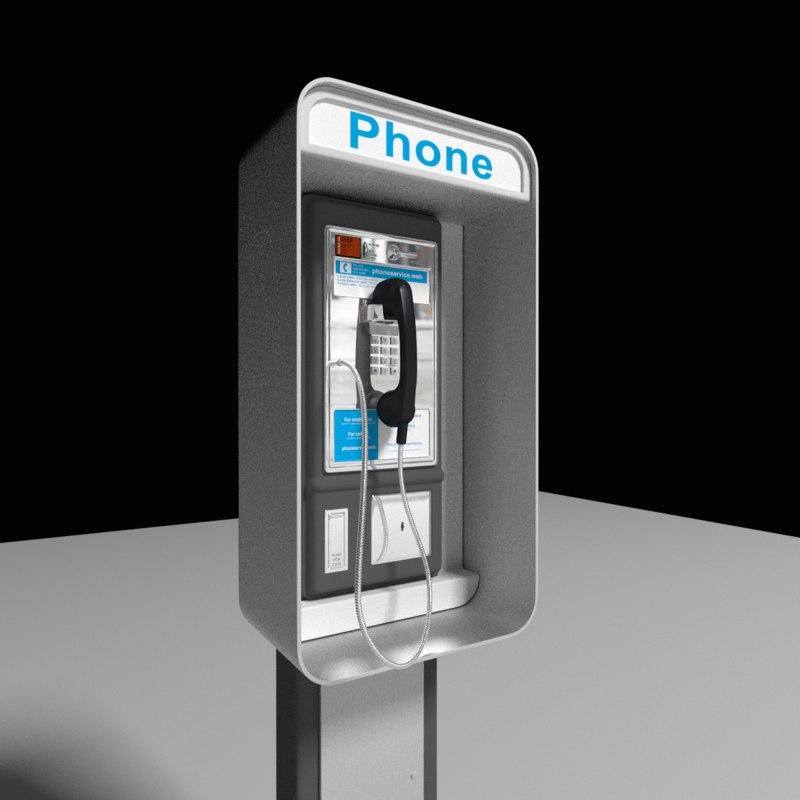 3d model payphone phone