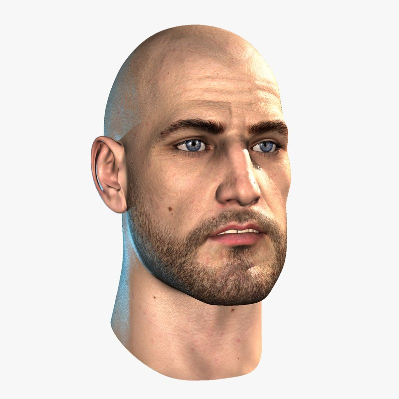 hairless male head realtime 3d model