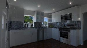 3d minimal modern kitchen