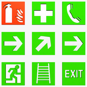 free escape signs 3d model