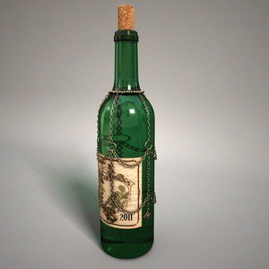 3d model decorated bottle wine