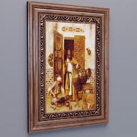 classic wood frame 3d max