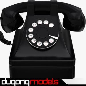 3d retro phone black