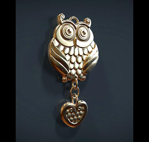 3d model owl pendant