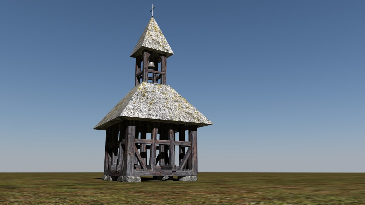 3d model low- historic bell tower