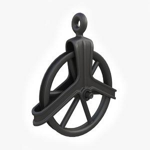 vintage cast iron pulley 3d model