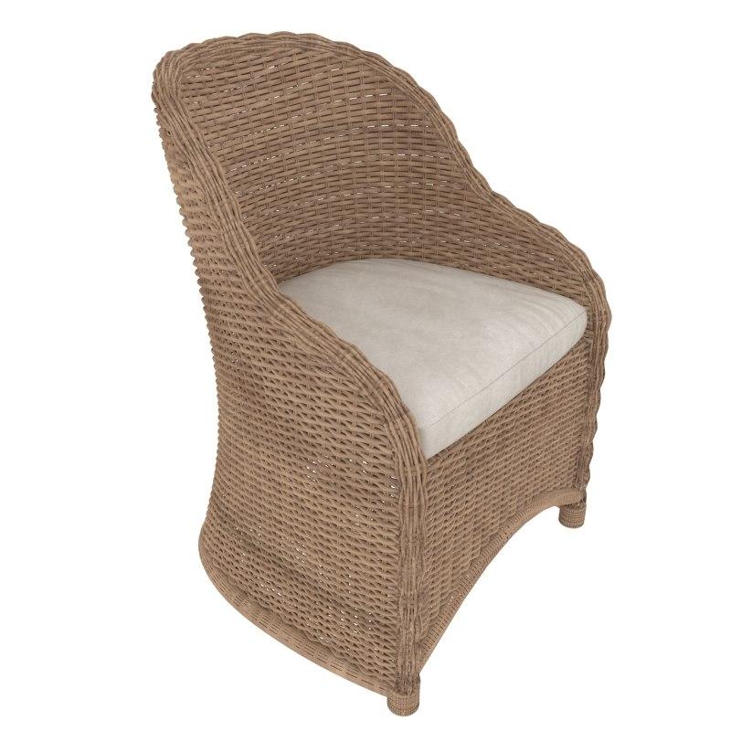 3d wickerwork armchair