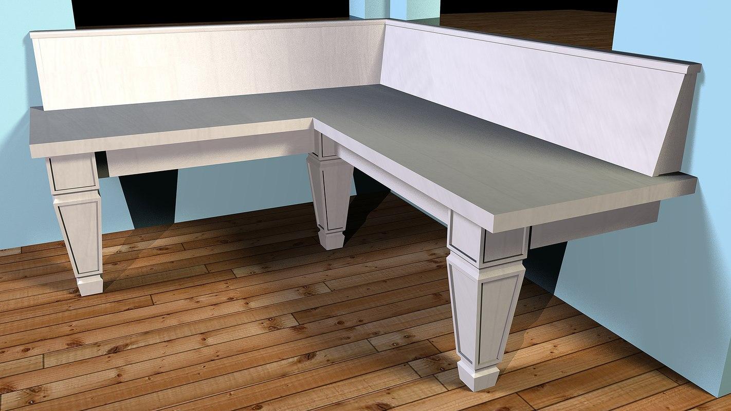 corner bench chair 3d model