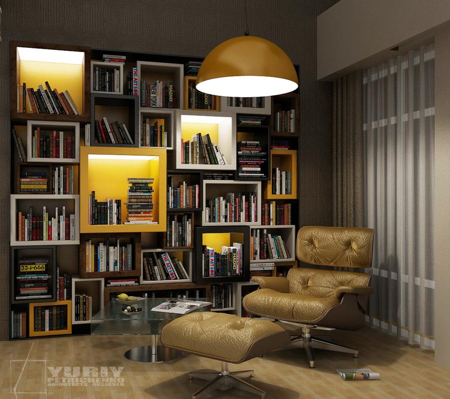 bookshelf book shelf 3d max