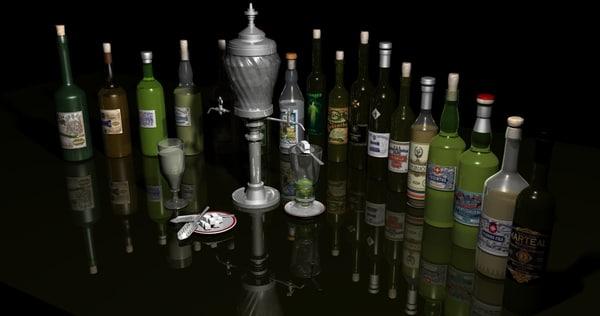 absinthe bottles fountain 3d model