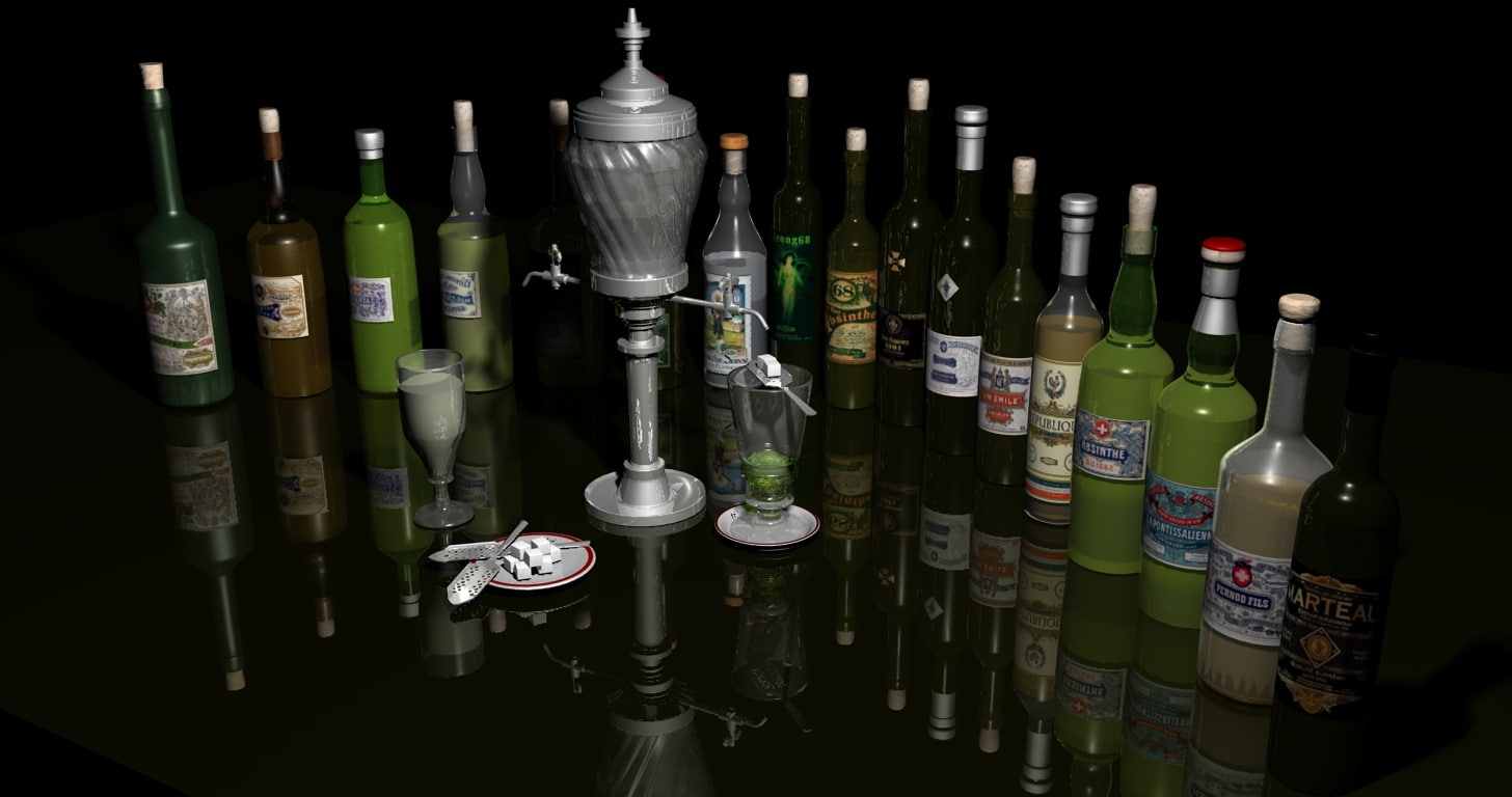 absinthe bottles fountain 3d model