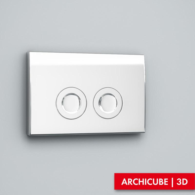 flush button 3d model