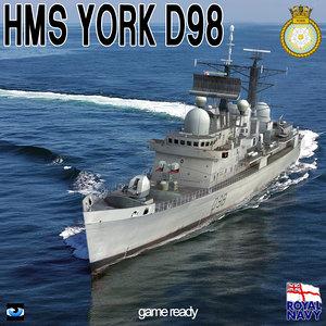 3d hms york d98 type model