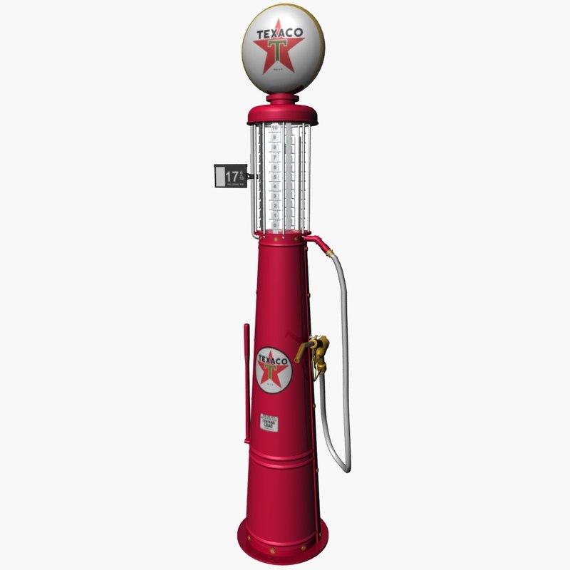3d vintage visible gas pump model