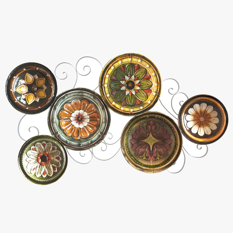 scattered italian plates wall 3d model