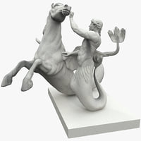 3d max seahorse triton statues 2