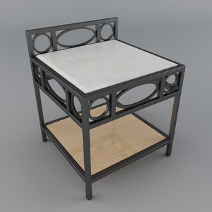 comodino marble wood 3d 3ds