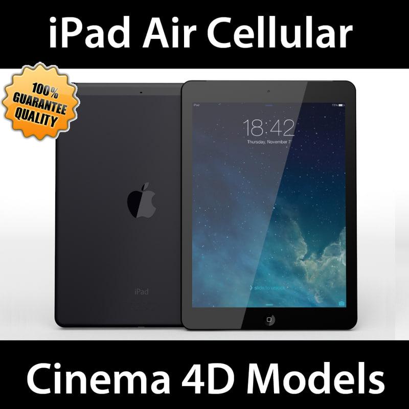 apple ipad air cellular 3d c4d