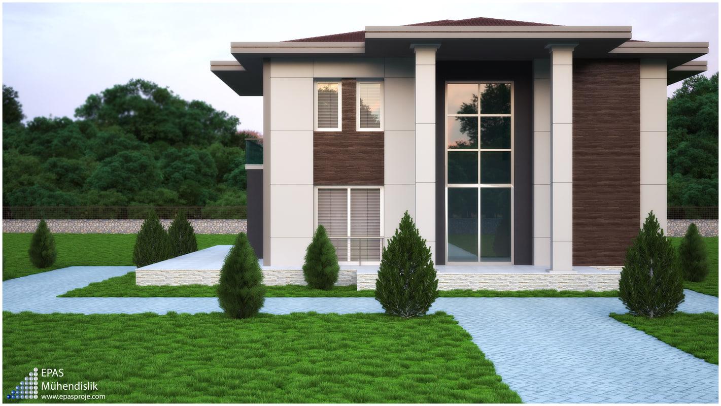 modern villa 3d max. Black Bedroom Furniture Sets. Home Design Ideas