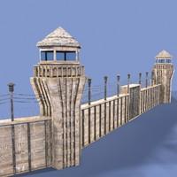 3d prison wall model