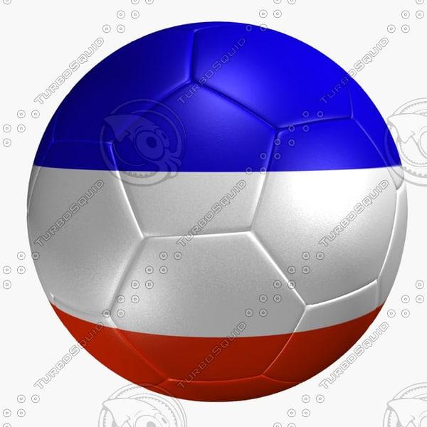 3d model soccer ball france flag