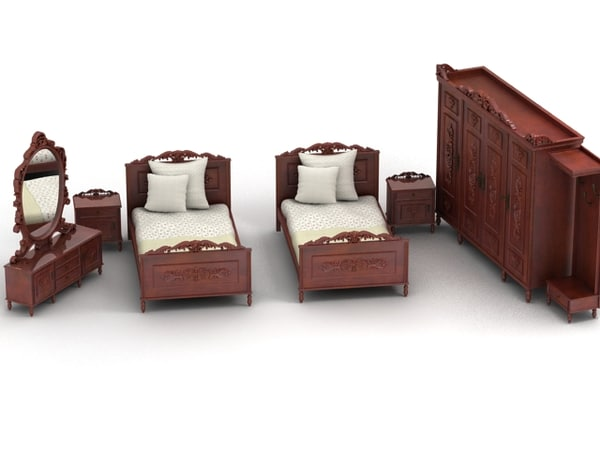 antique bedroom v2 3d model
